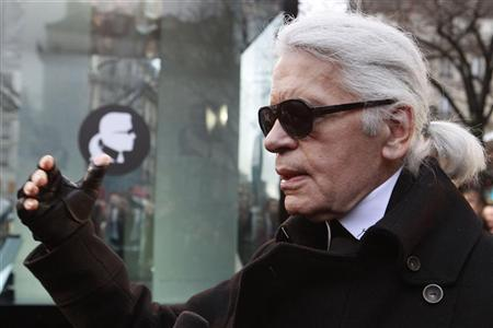 German designer Lagerfeld attends the launching of online web purchasing of the K by Karl Lagerfeld fashion line in Paris