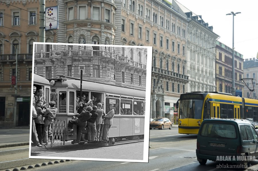 riders-on-a-streetcar-in-1954-today-its-a-streetcar-route-through-the-city