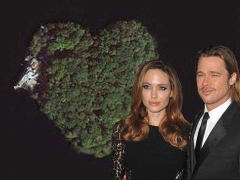 Jolie 给 Pitt 的50生日大礼:一座心形小岛