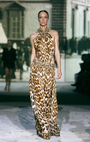 A model on the catwalk for Roberto Cavalli, SS07
