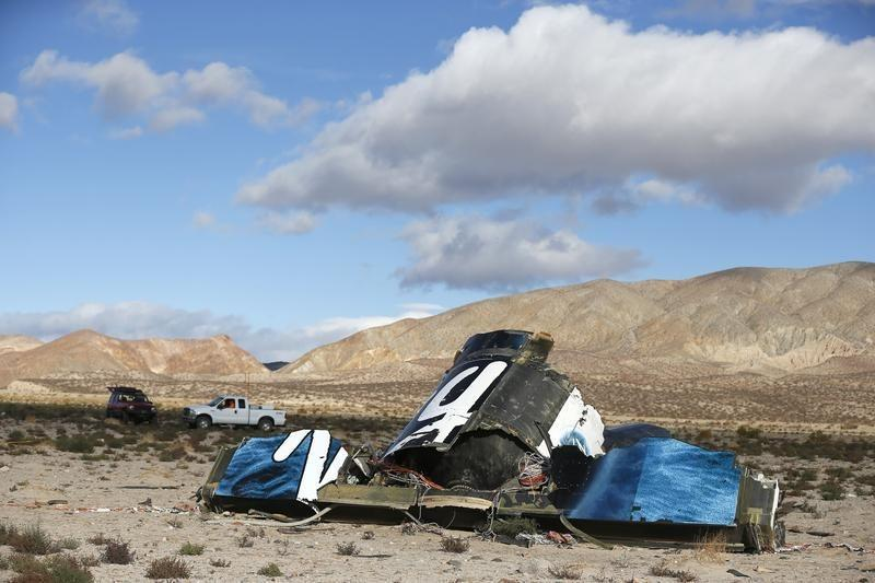 Piece of debris is seen near the crash site of Virgin Galactic's SpaceShipTwo near Cantil