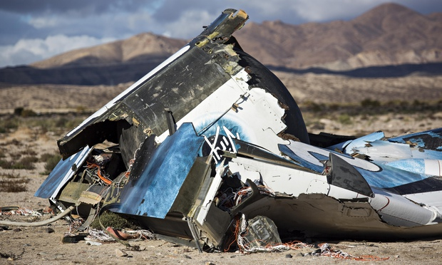 Wreckage from the Virgin Galactic spacecraft in the Mojave desert