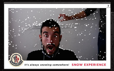 Moncler推出趣味下雪体验App
