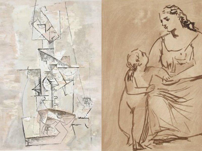 3左Femme à la Mandoline右Maternité