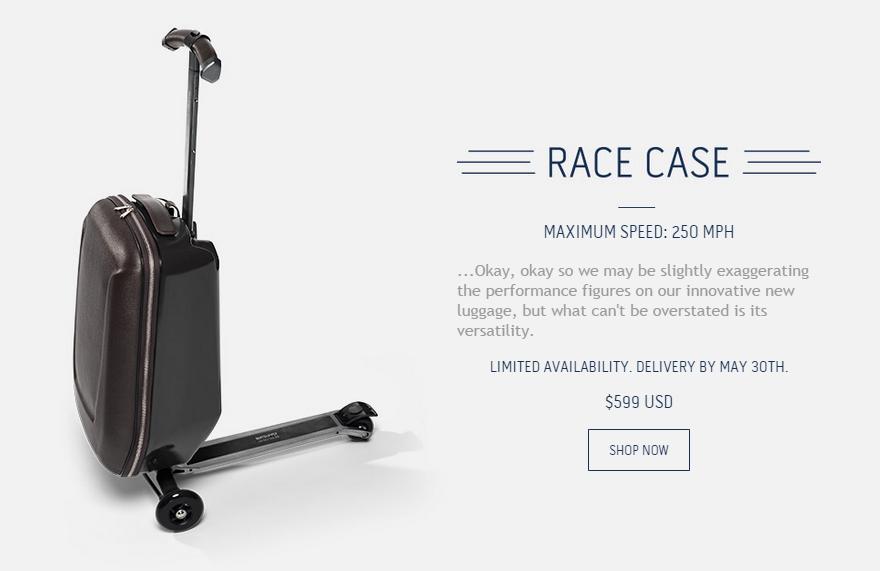 自带滑板车的旅行箱:赶路利器