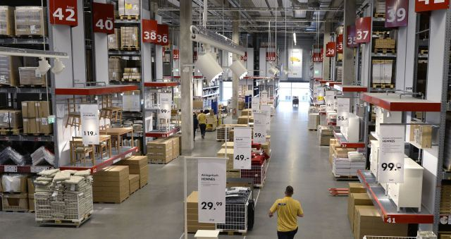 An employee is pictured in IKEA's first city centre store in Hamburg