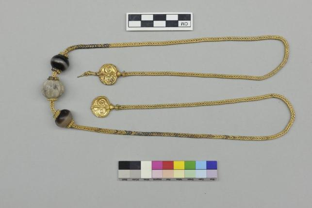 A golden chain found inside an ancient tomb dated circa 1500 B.C in the southeastern city of Pylos