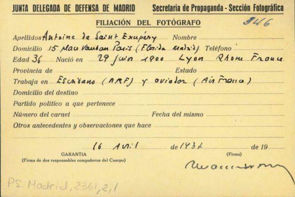 《小王子》作者 Saint-Exupery 在西班牙内战期间使用的记者证被找到