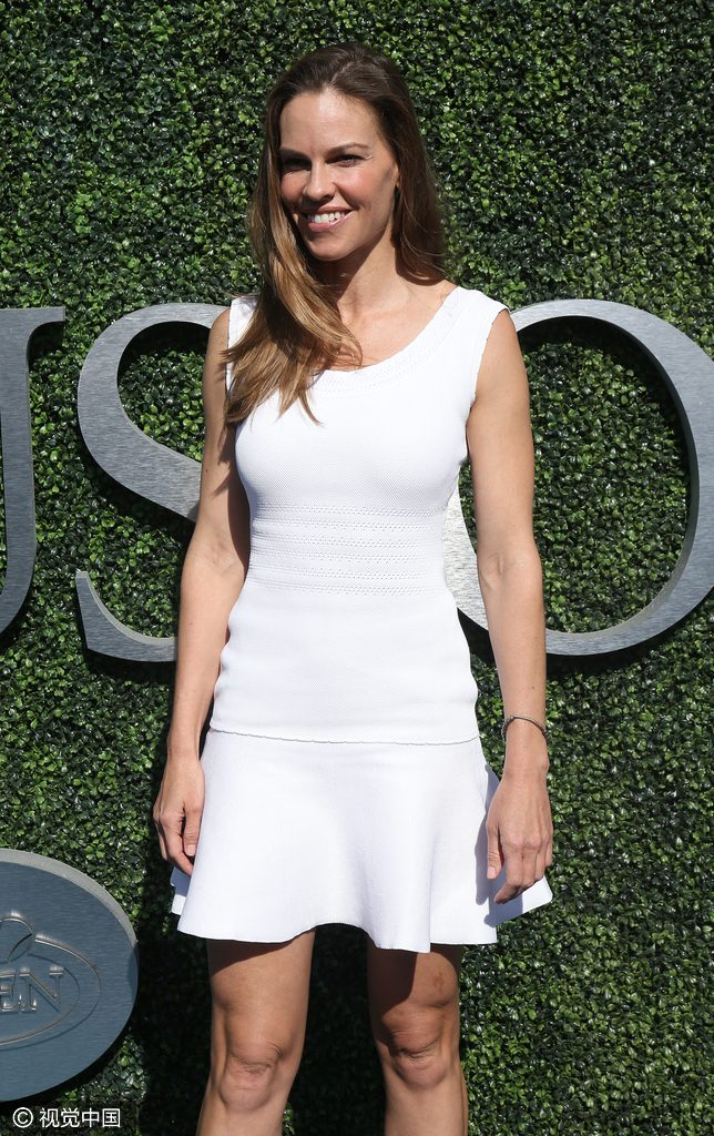 NEW YORK, NY - SEPTEMBER 11: Hilary Swank attends the men's final between Novack Djokovic of Serbia and Stan Wawrinka of Switzerland at Arthur Ashe Stadium on day 14 of the 2016 US Open at USTA Billie Jean King National Tennis Center on September 11, 2016 in the Queens borough of New York City. (Photo by Jean Catuffe/GC Images)