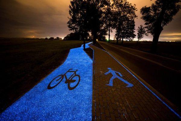 波兰建了一条太阳能自行车道,夜间可持续发光 10小时