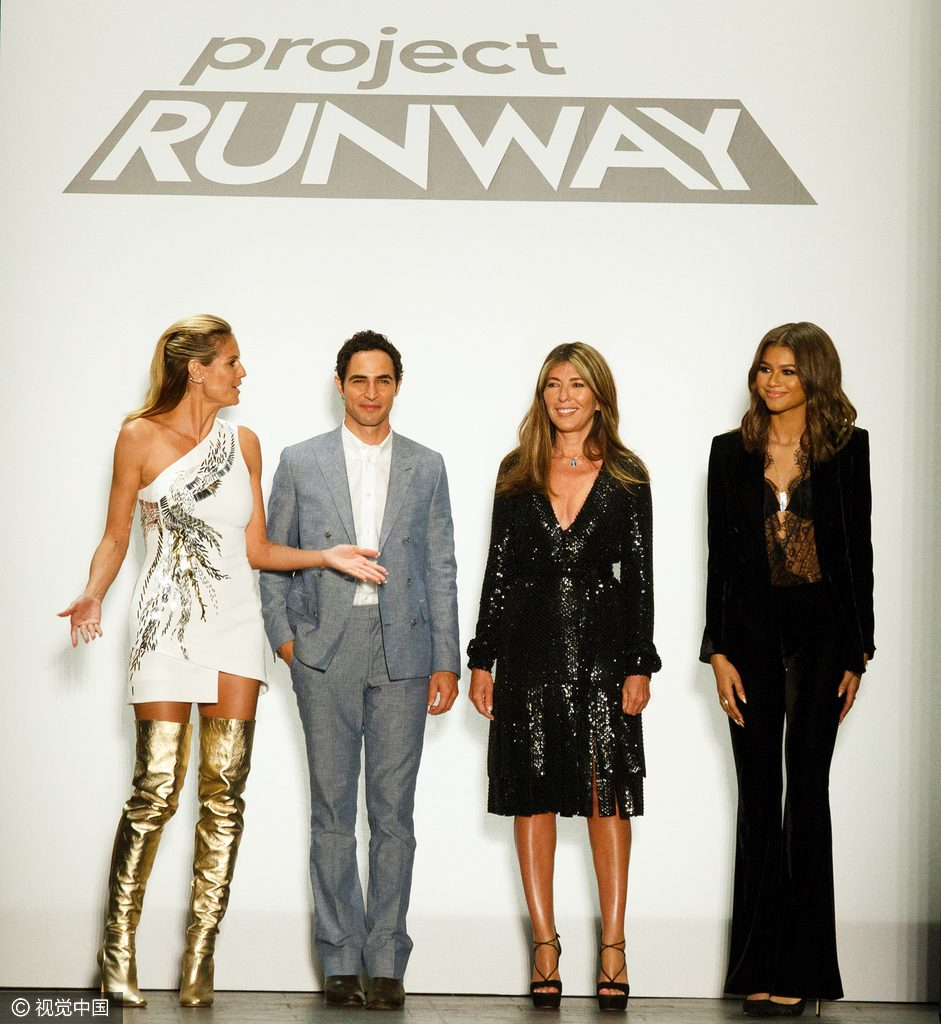Project Runway - Runway - September 2016 - New York Fashion Week: The Shows Sep 09 2016 - The Arc, Skylight at Moynihan Station - New York, New York United States Pictured: Heidi Klum, Zac Posen, Nina Garcia, Zendaya Ref: SPL1350140 090916 Picture by: Janet Mayer / Splash News Splash News and Pictures Los Angeles: 310-821-2666 New York: 212-619-2666 London: 870-934-2666 photodesk@splashnews.com