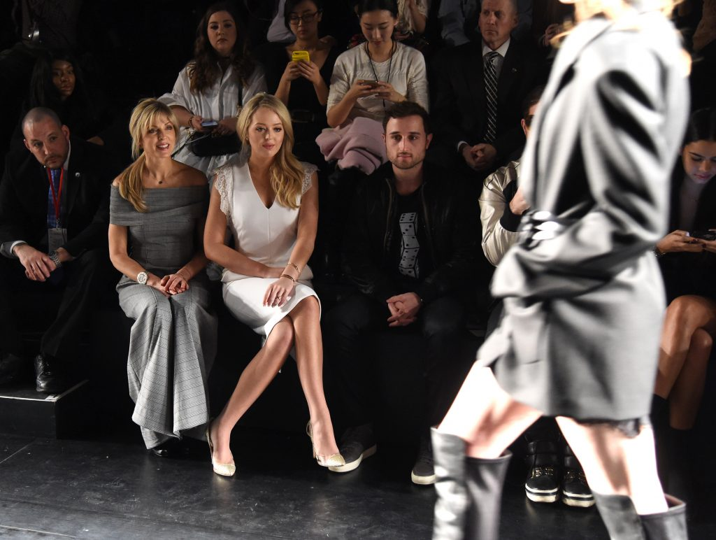 NEW YORK, NY - FEBRUARY 11: (L-R) Marla Maples, Tiffany Trump and Ross Mechanic attend the Taoray Wang collection during, New York Fashion Week: The Shows at Gallery 1, Skylight Clarkson Sq on February 11, 2017 in New York City. (Photo by Jamie McCarthy/Getty Images for Taoray Wang)