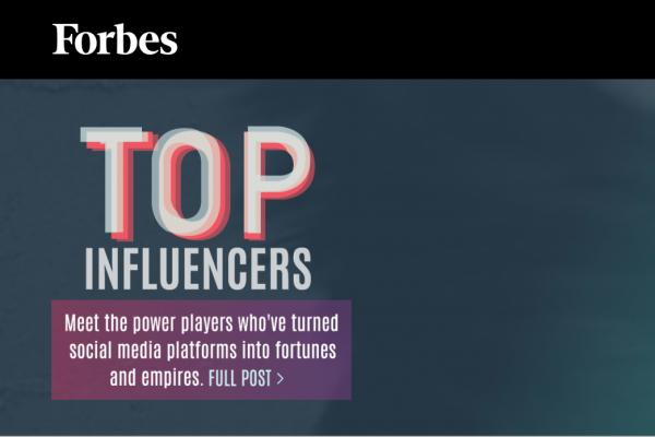 《福布斯》首次公布全球意见领袖排行榜,健身、美妆、家居领域名单揭晓