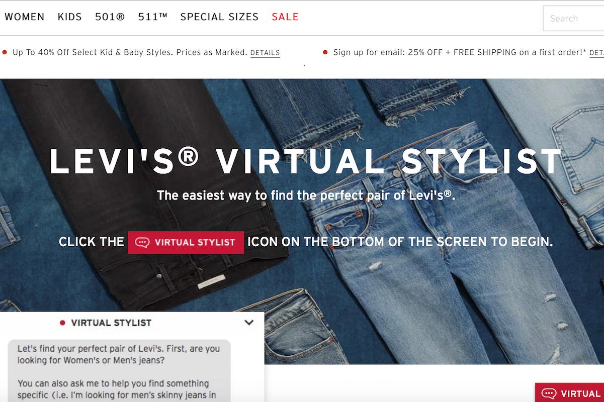 """Levi's 推出""""Virtual Stylist 虚拟造型师"""",在线为消费者提供穿着建议"""