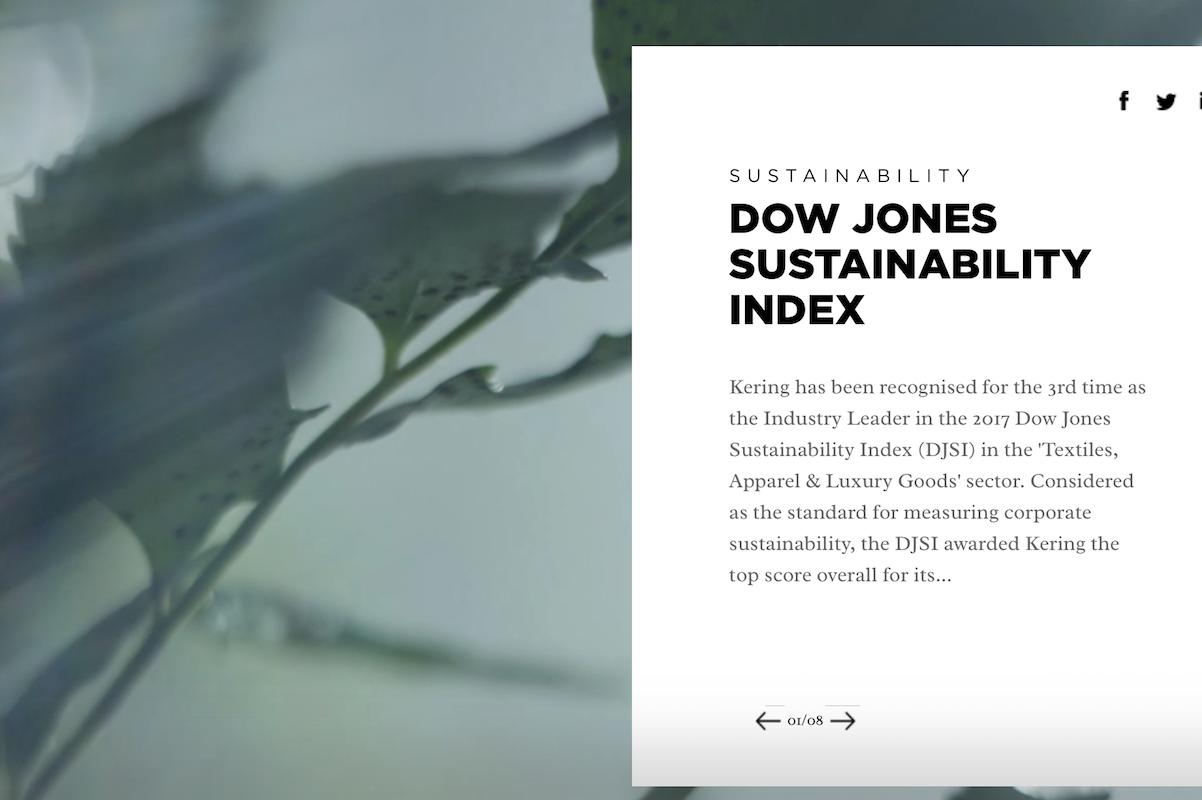 """道琼斯可持续发展指数""""纺织服装和奢侈品""""行业评选结果出炉,开云集团第三次荣登榜首"""