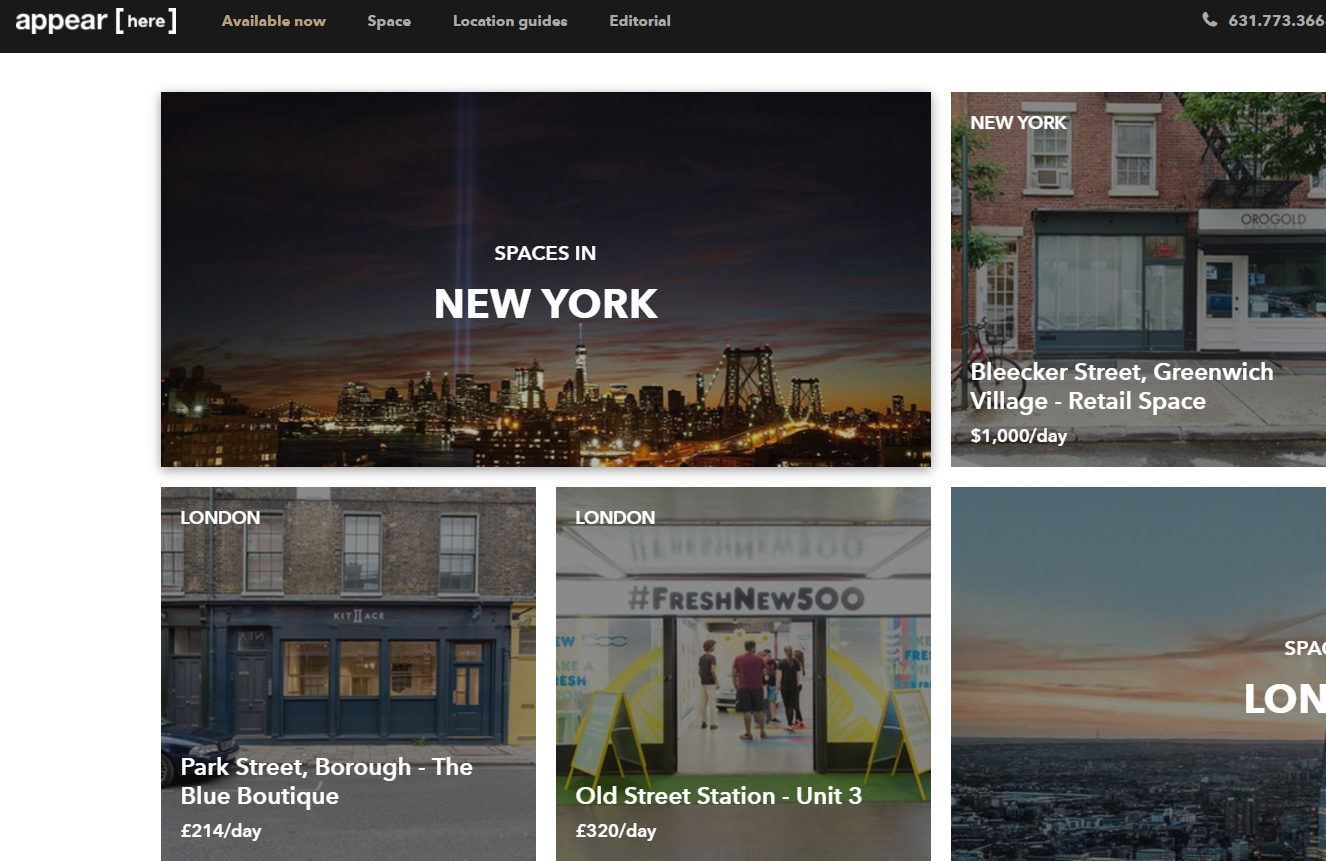 """""""零售业的 Airbnb"""":实体商铺在线短租平台 Appear Here 获得风险投资"""