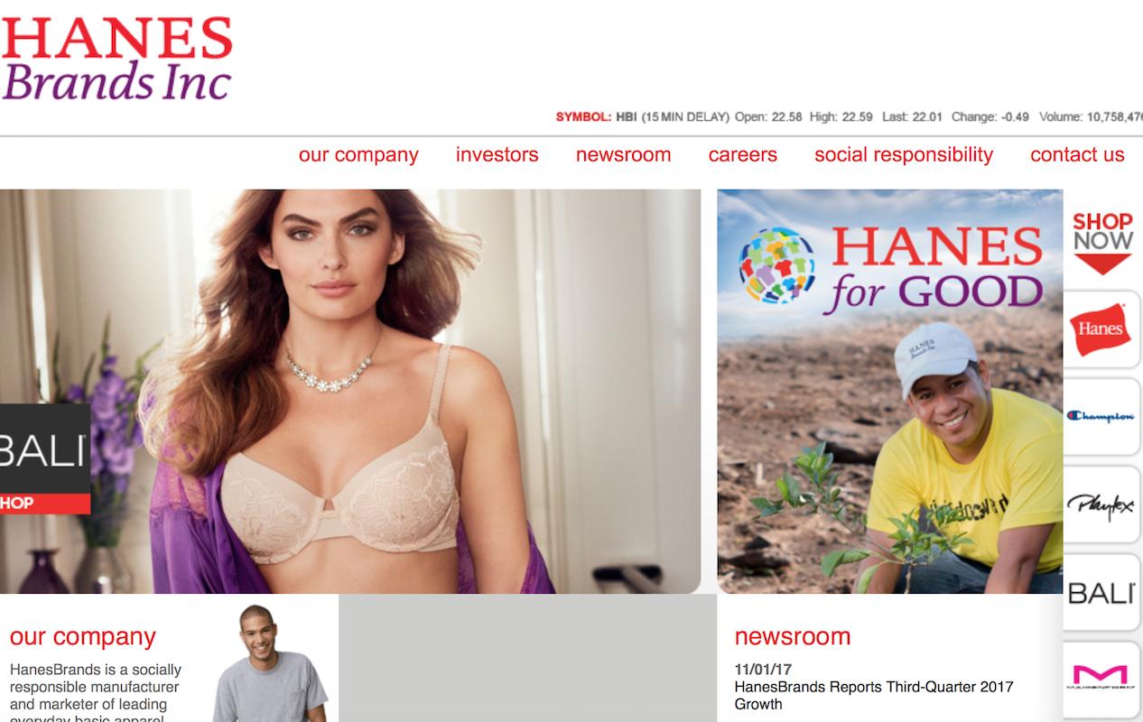 美国内衣制造商 HanesBrands 公布最新季报:近8个季度净销售额首次恢复有机增长