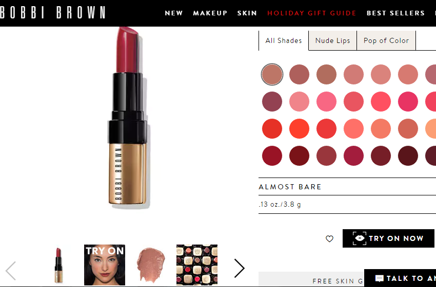 美国彩妆品牌 Bobbi Brown 推出最新线上虚拟试妆功能:虚拟上妆用时不到0.03秒