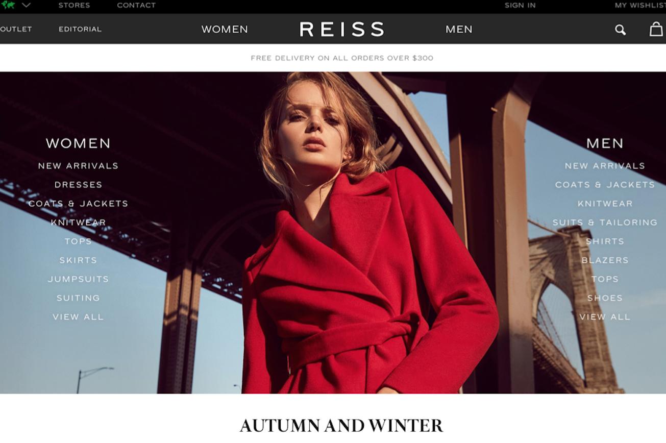 英国轻奢品牌 Reiss 上财年销售额增长 13%,海外市场扩张致利润下滑