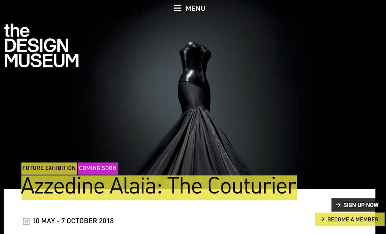 伦敦设计博物馆将为已故时装设计大师 Azzedine Alaïa 举办回顾展