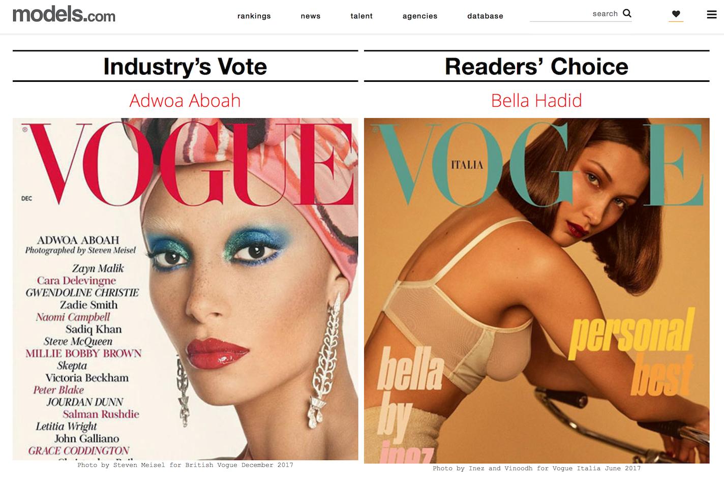 "Models.com 2017年度模特大奖名单揭晓,Paul Hameline、Adwoa Aboah 分别斩获专业人士评选的""年度男女模特""称号"