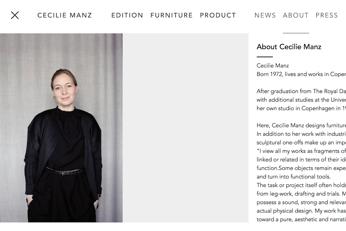 Maison & Objet 公布2018年度设计师,丹麦女设计师 Cecilie Manz 获奖