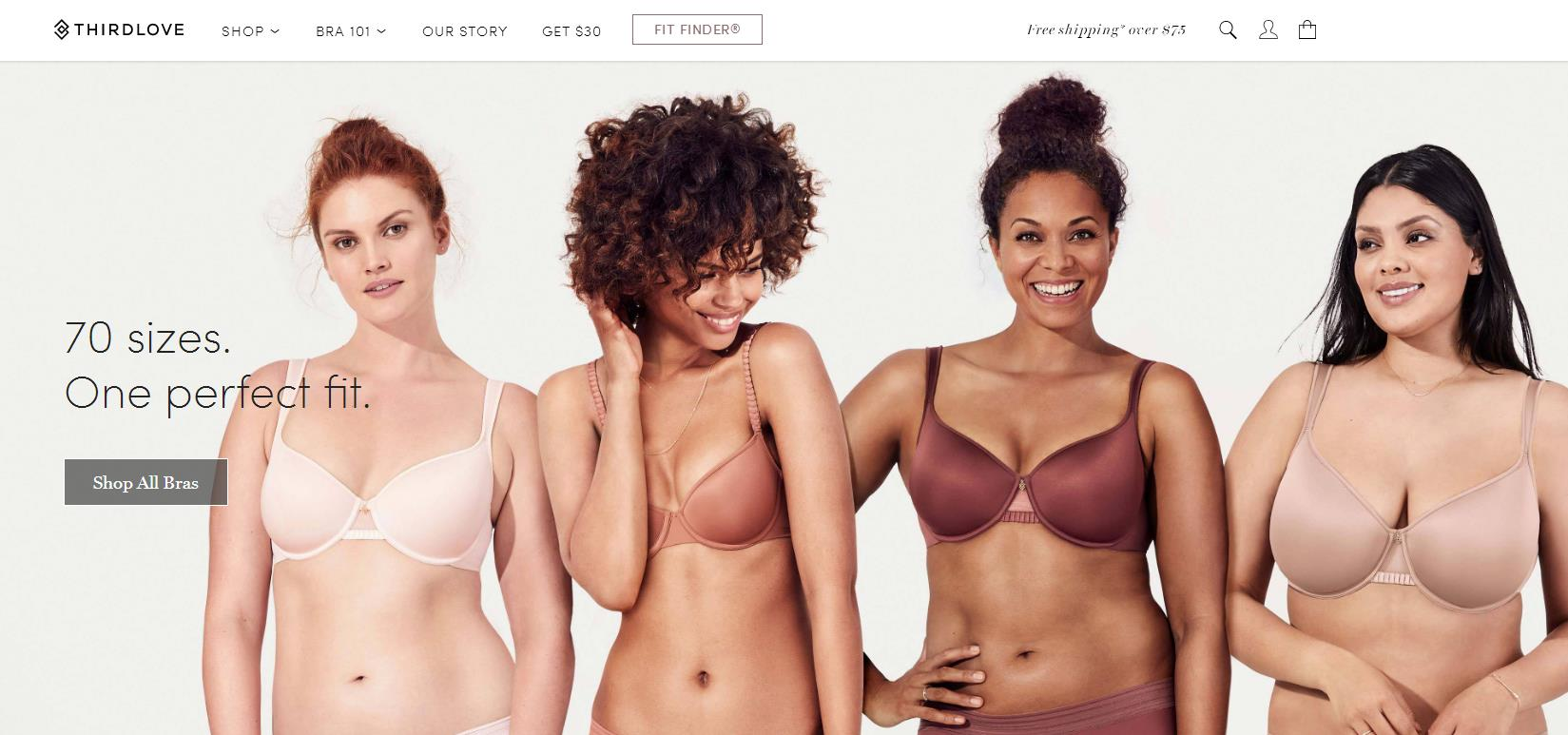 美国互联网内衣品牌 ThirdLove 将提供70个尺码的文胸,服务不同身材和肤色的女性用户