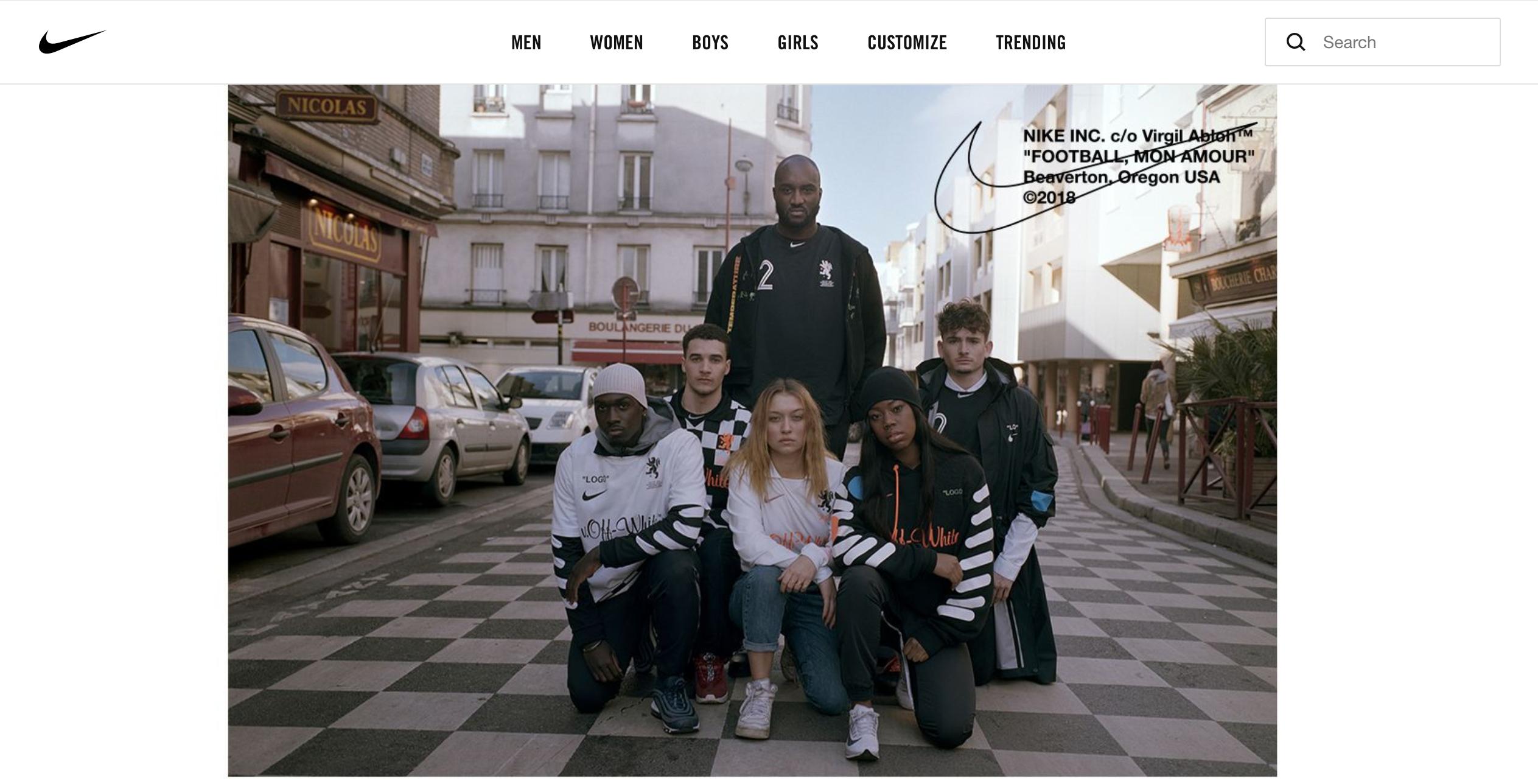 世界杯前夕,Nike 联手LV和Dior的男装创意总监Virgil Abloh、Kim Jones推出足球主题系列产品