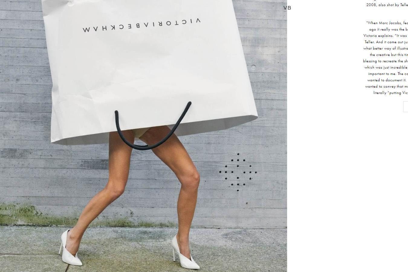 Victoria Beckham 品牌首次推出广告大片,贝嫂亲自上阵演绎,把自己装进了购物袋 !