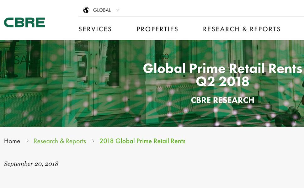 CBRE 2018年第二季度全球顶级商圈租金报告:北京、广州位列租金榜前十