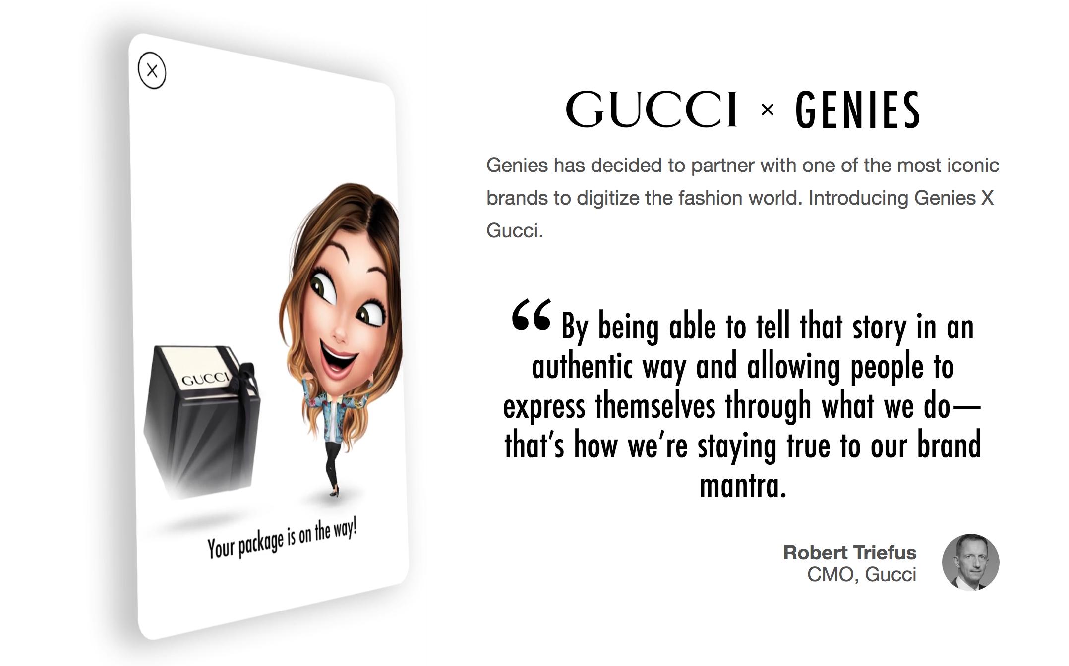 让你的数字化身穿上全套的 Gucci:虚拟形象服务商 Genies 将奢侈品类独家经营权授予 Gucci