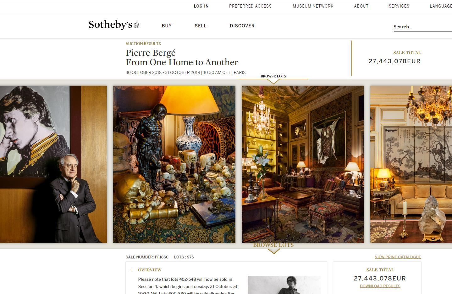 YSL 联合创始人 Pierre Bergé 生前艺术品收藏拍得 2744万欧元,创下苏富比新纪录