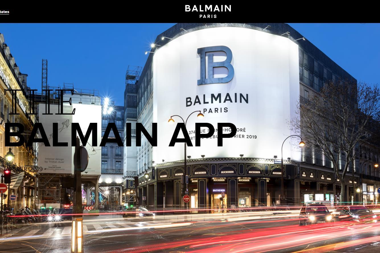 法国奢侈品牌 Balmain 推出可观看时装秀直播的手机 app