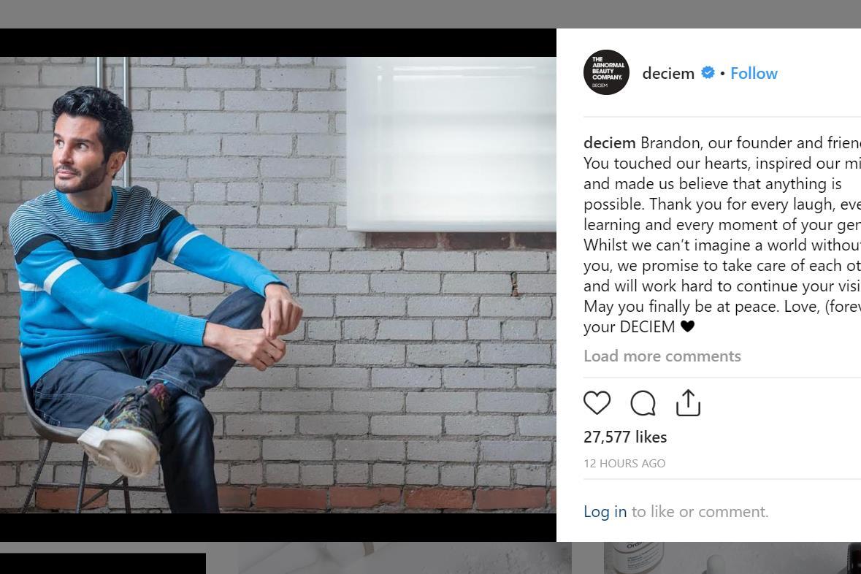 加拿大创新美妆公司 Deciem 创始人 Brandon Truaxe 离世,时年40岁