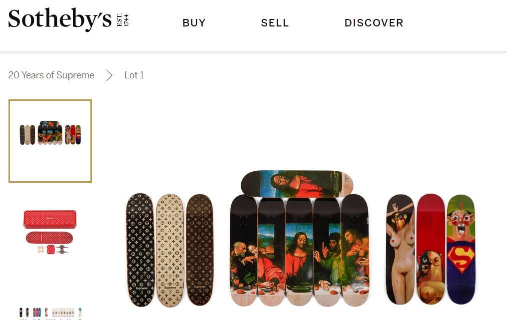 史上最完整的 Supreme滑板私人收藏系列在苏富比线上竞拍中以80万美元成交