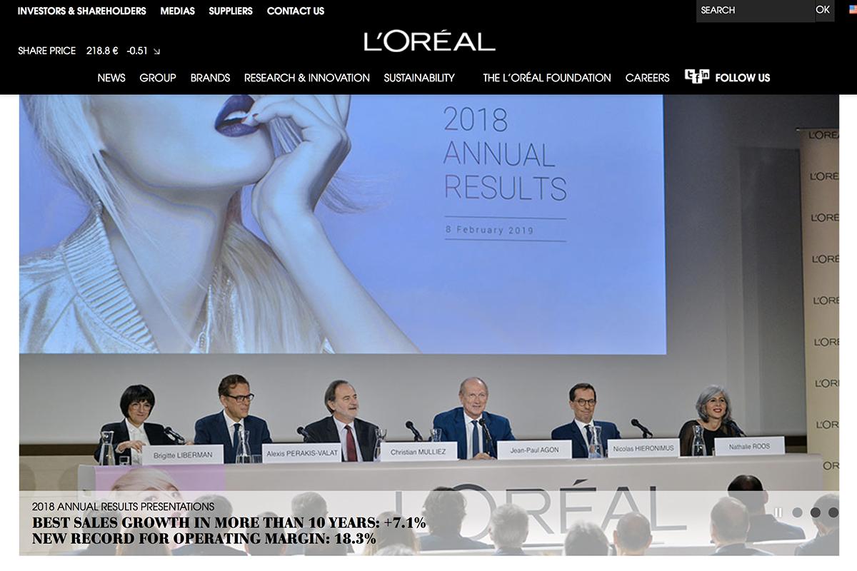 欧莱雅集团2018全年财报:中国市场对高端品牌需求持续强劲,销售额录得2007年以来最高增幅