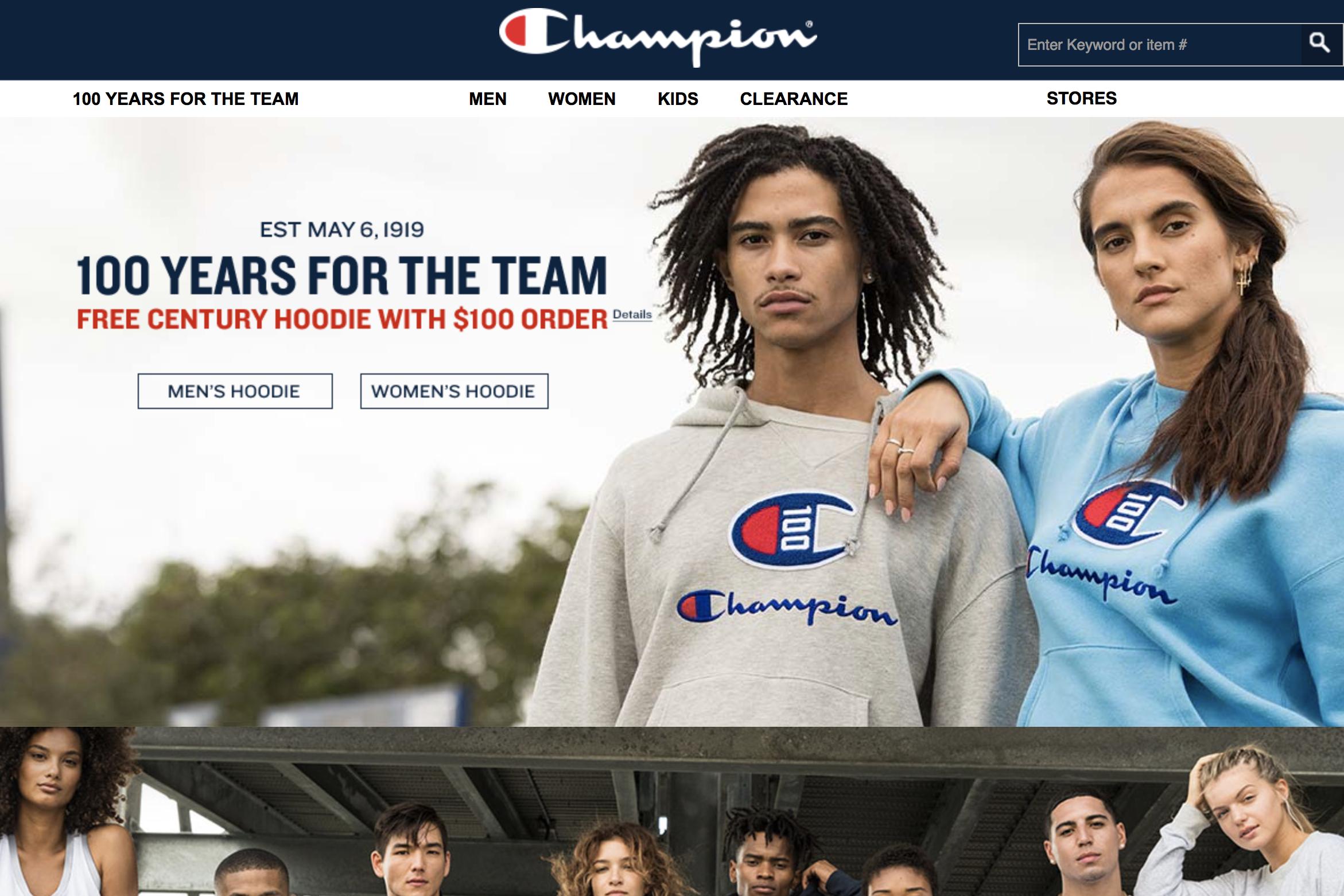 Champion上季度全球销售额大涨75%,推动母公司 HanesBrands 连续第七个季度实现增长