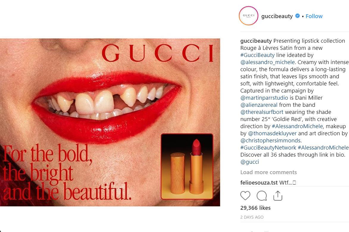 """Gucci 全新唇膏广告大胆展示""""不完美"""":化妆,并不意味着千篇一律的面具"""