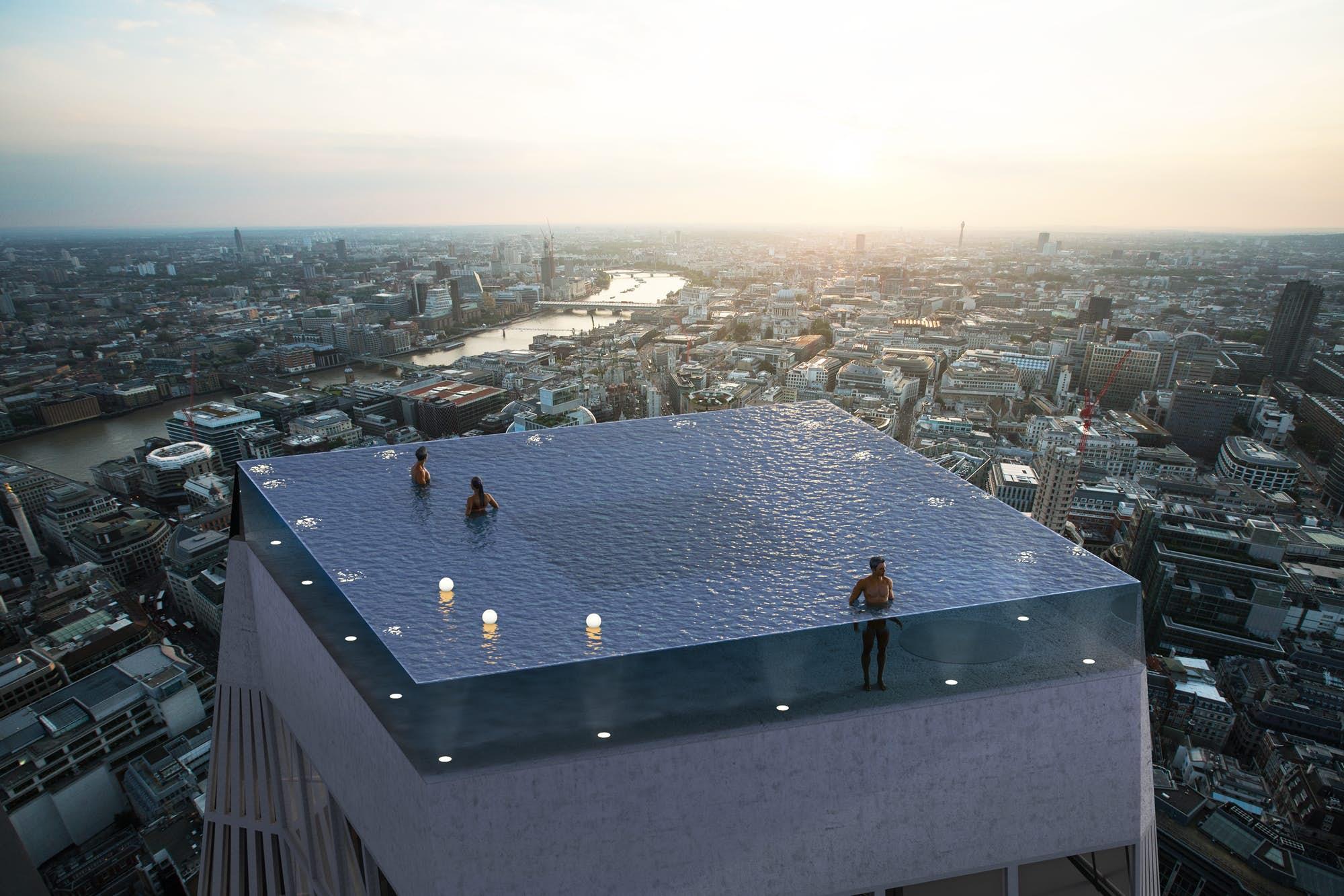 全球首座360度全景屋顶无边泳池将落户伦敦