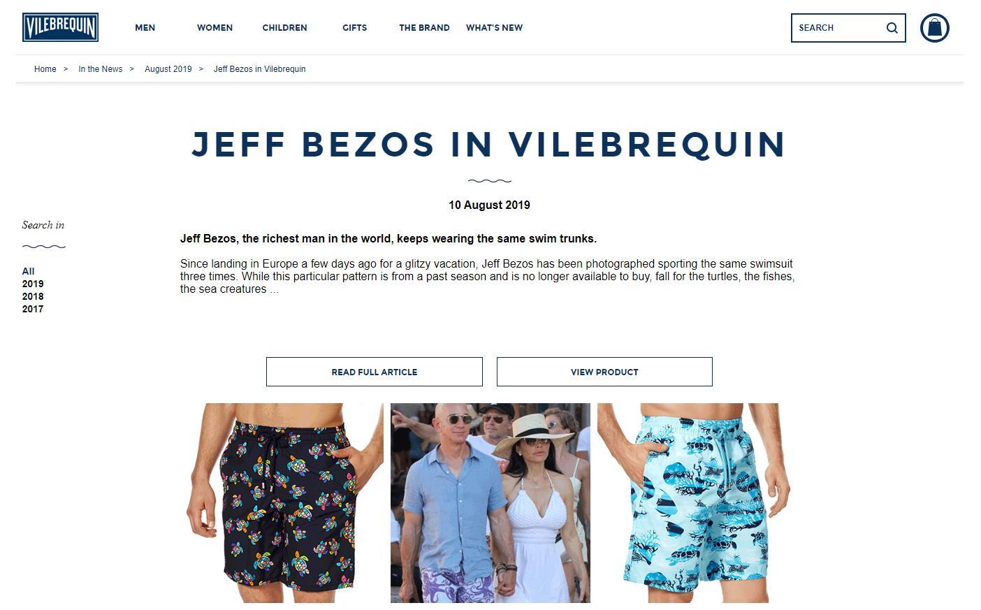 """新晋""""带货网红"""":亚马逊创始人贝索斯带火 Vilebrequin 品牌的章鱼短裤"""