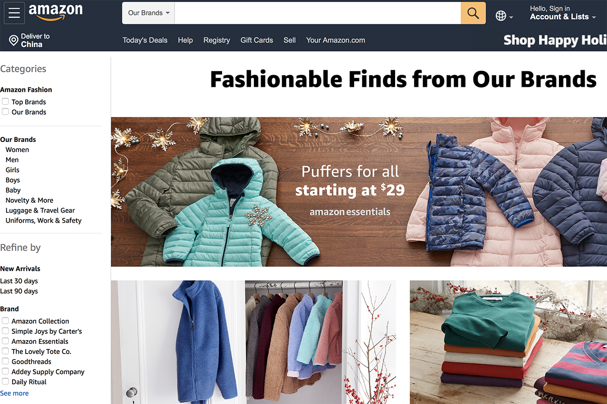 亚马逊时尚自有品牌数量破百个,或加剧第三方时尚品牌及零售商压力