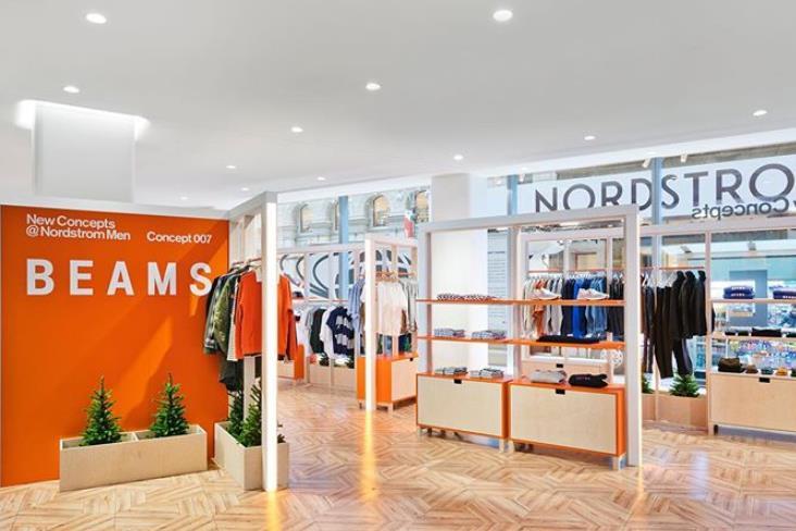 日本历史最悠久的买手店 Beams 在美国高端百货 Nordstrom 内开设男装快闪店