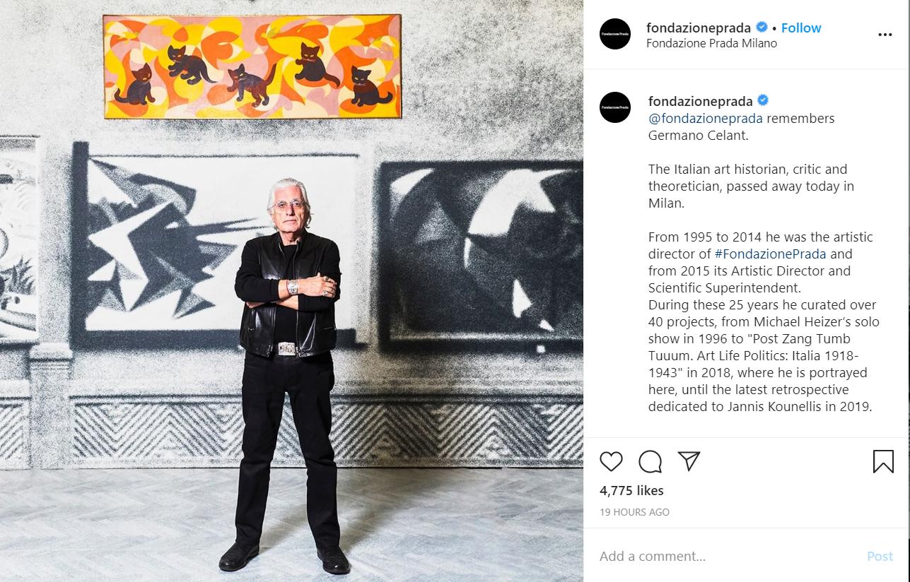 Prada 基金会艺术总监 Germano Celant 因新冠肺炎去世:他是意大利先锋艺术运动的顶梁柱