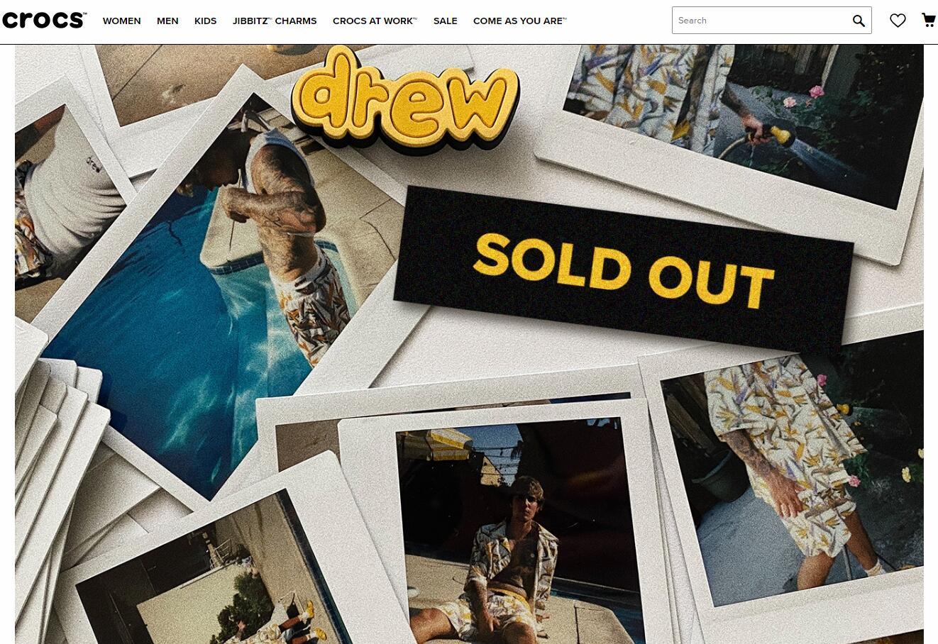 Crocs 与 Justin Bieber 的联名鞋发布后即刻售罄,转售价最多高出近一倍