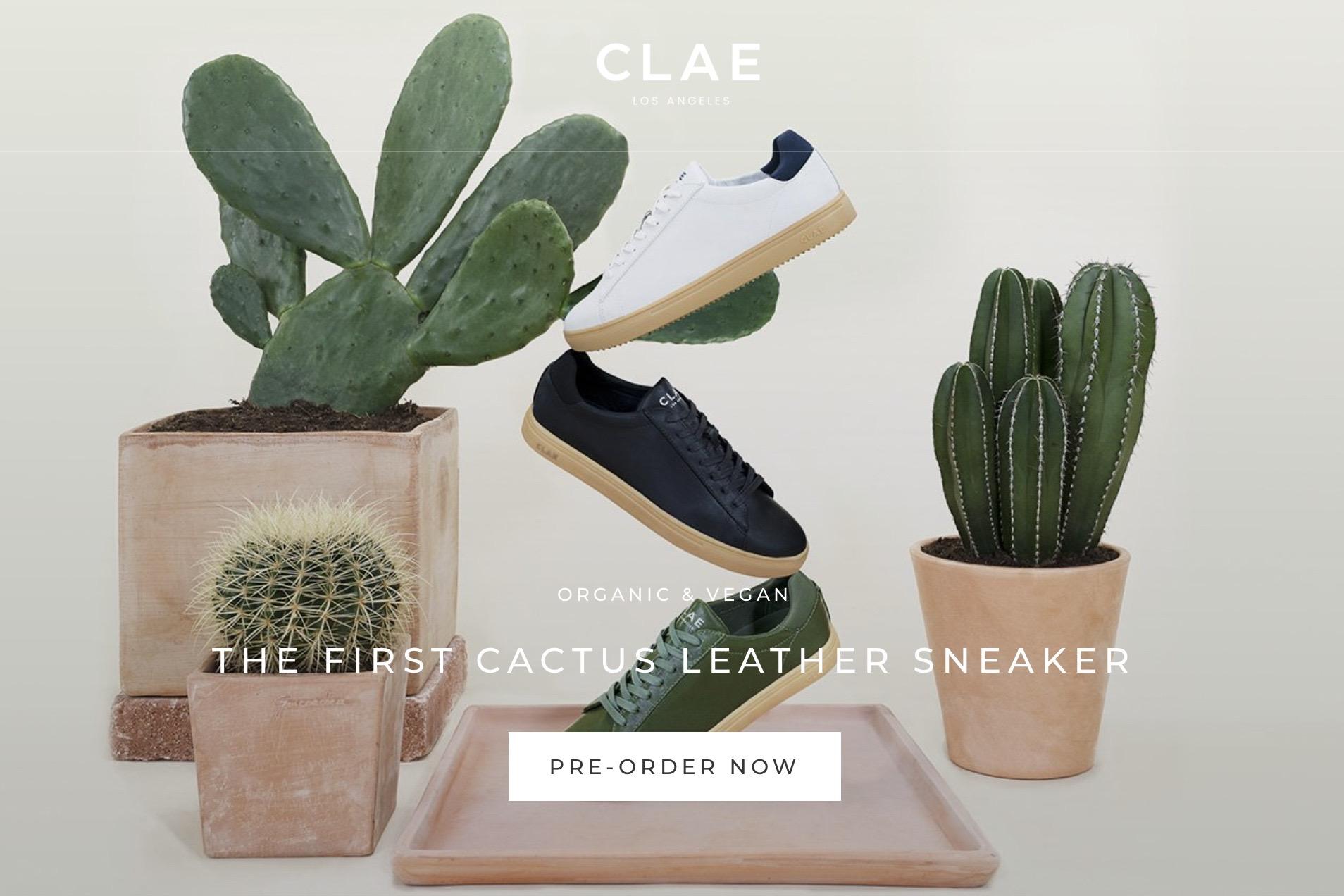 """洛杉矶运动鞋品牌 Clae 推出首款仙人掌材质的""""皮革""""运动鞋"""