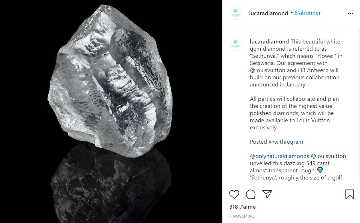 Louis Vuitton 加码高级珠宝,又购入一颗重549克拉的钻石原石