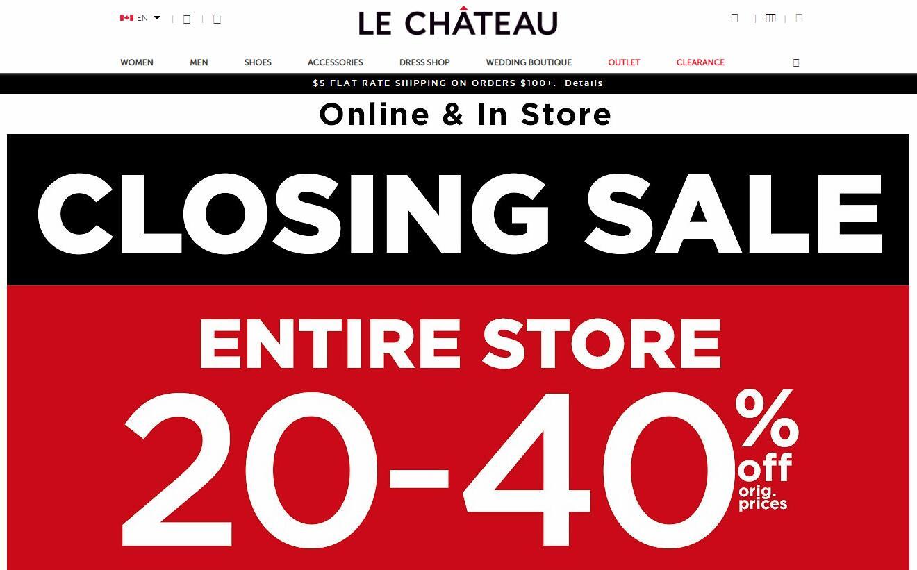加拿大曾经的主力时尚品牌 Le Château 破产清算,将关闭所有门店