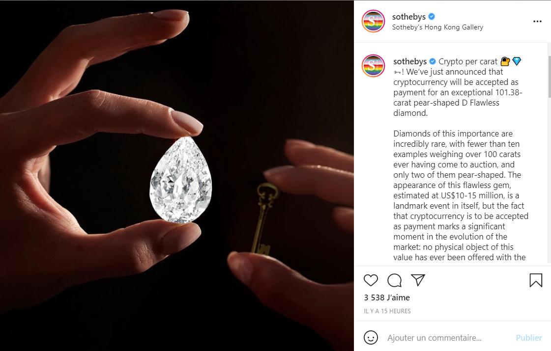 苏富比下月将拍卖101.38克拉稀有钻石,接受加密货币交易