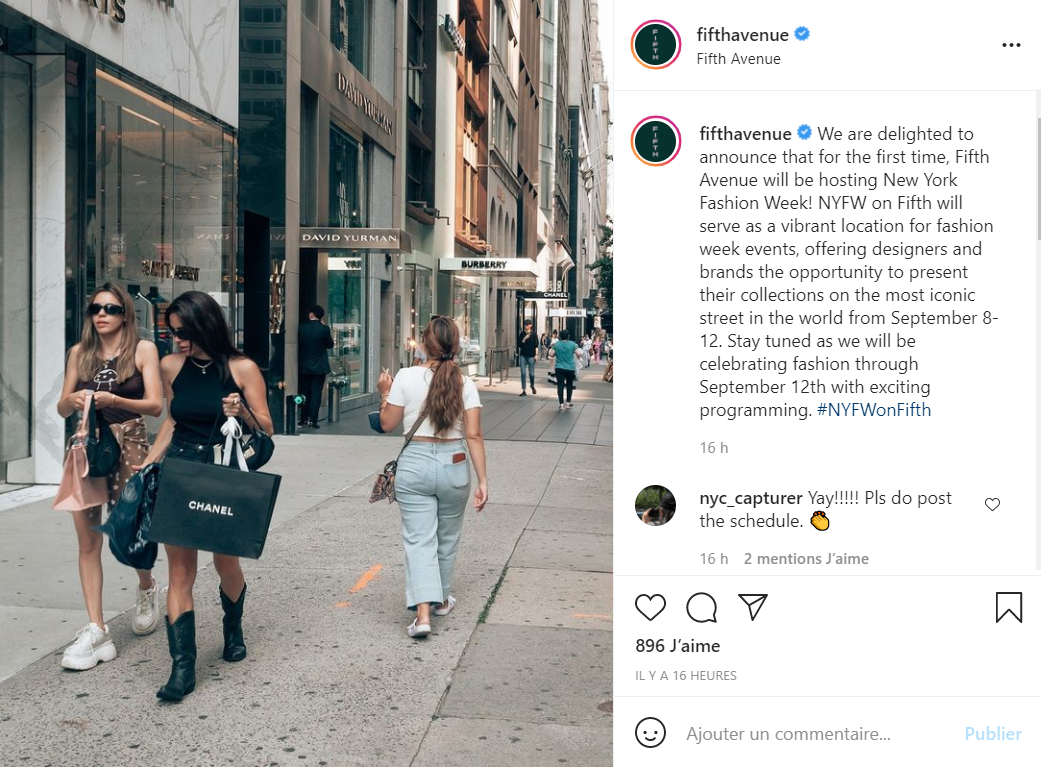 今年9月的纽约时装周将在著名奢侈品购物区第五大道举行