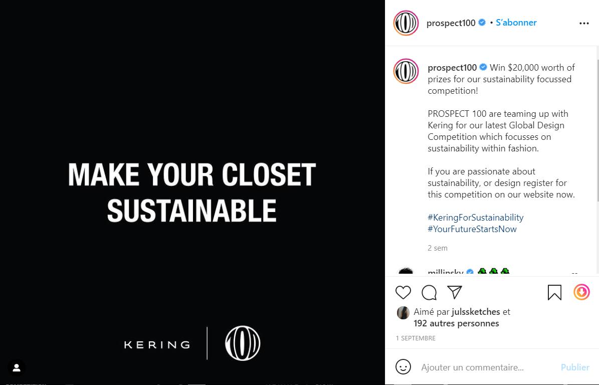 开云集团携手 Prospect 100 平台共同举办2021全球设计大赛,聚焦可持续时尚
